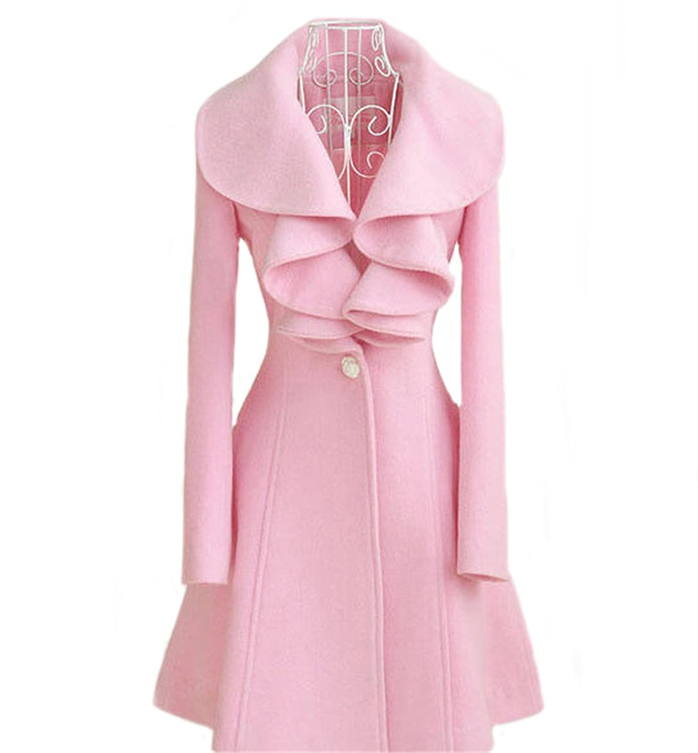 Allonly Women's Long sleeved Woolen One Button Jacket Trench Coat