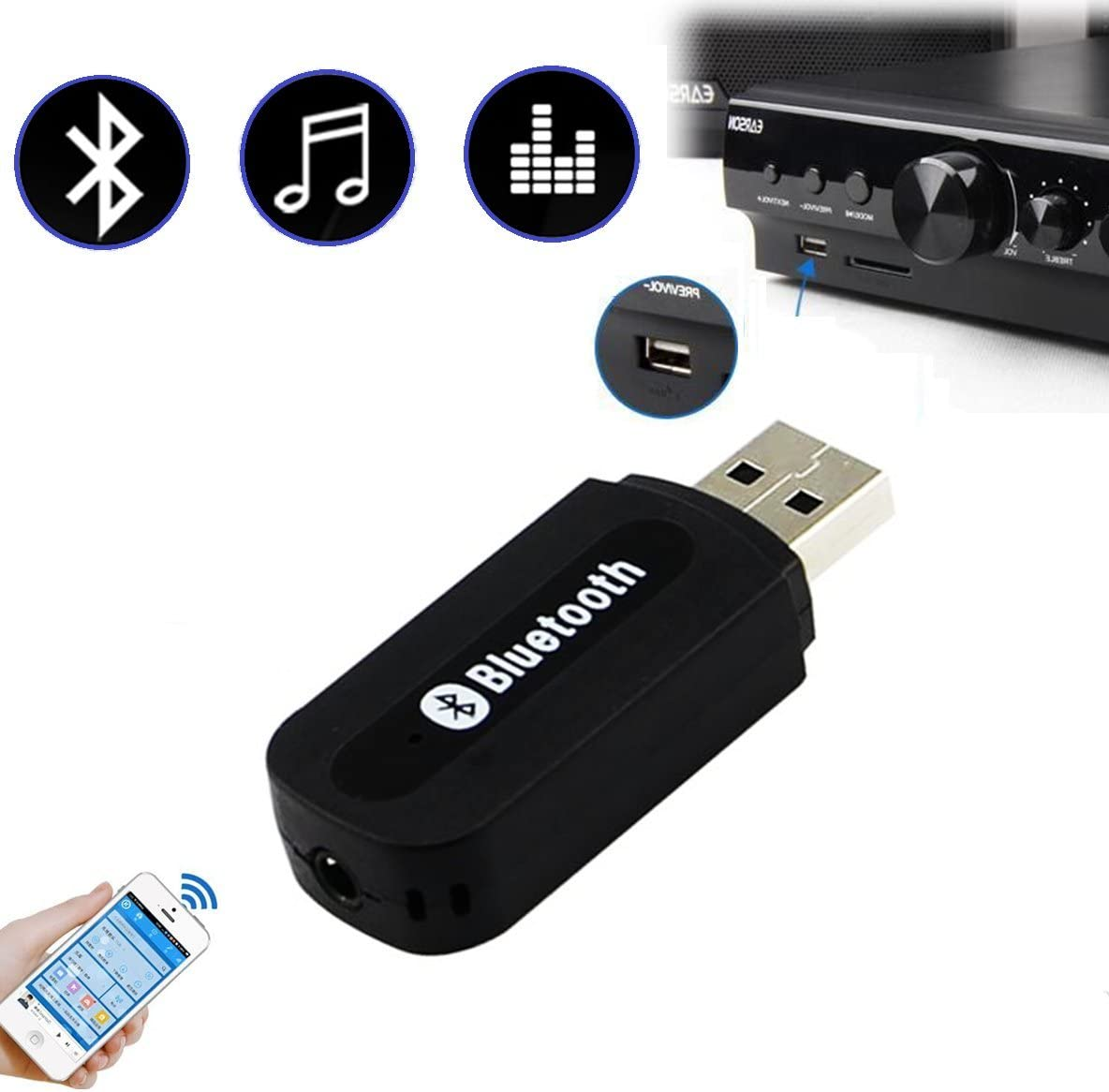 Car Aux Wireless Bluetooth MP3 Music Player Receiver 10m Phone Handsfree Adapter