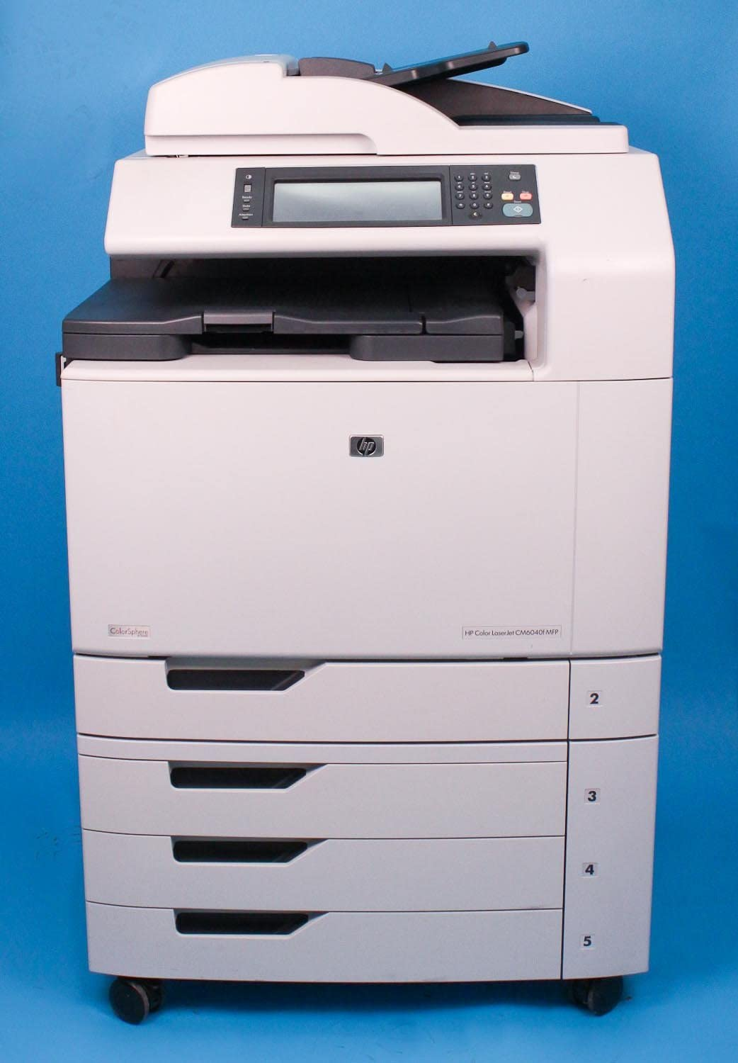 HP Q3939A Color LaserJet CM6040f MFP - Multifunction printer - color - laser - Ledger/A3 (11.7 in x 17 in) (original) - A3 (297 x 420 mm), ANSI B (Ledger) (279 x 432 mm) (media) - up to 40 ppm (copying) - up to 40 ppm (printing) - 2100 sheets - 33.6 Kbps - USB 2.0, Gigabit LAN, USB host