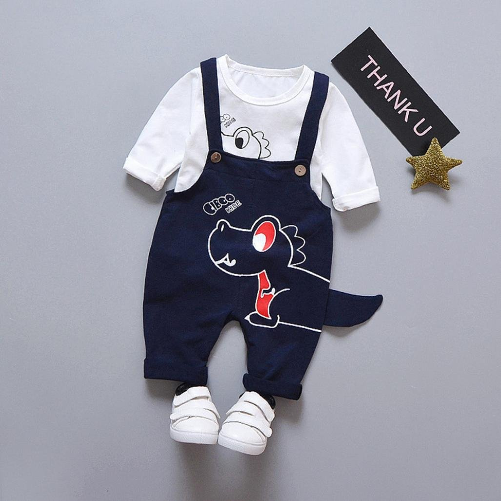 Baby Dungaree Outfit 0-3 Ages Boy Girl Jumpsuit 2 Pieces Baby Boys Long Sleeve Shirt Romper Overalls Jumpsuit Bodysuit Pajama Clothes Clothing Set