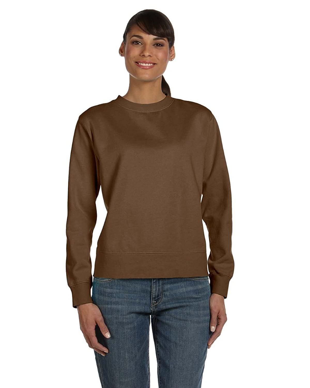 Comfort Colors Ladies' 10 Oz. Garment-dyed Wide-band Fleece Crew - Brown - 2xl