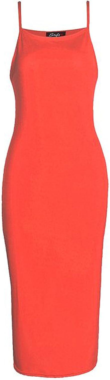 Fashion Mark New Womens Plain Cami Strappy Viscose Bodycon Long Midi Dress