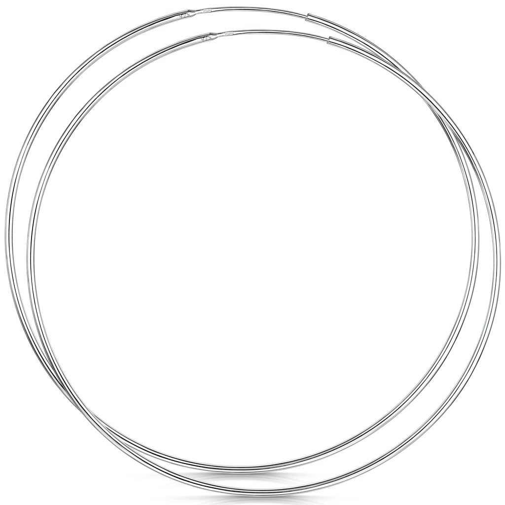 Amberta 925 Sterling Silver Fine Circle Endless Hoops - Polished Round Sleeper Earrings Diameter Size: 20 30 40 60 80 mm (80mm)