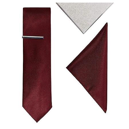 Andre 8 cm Burdeos Vino Rojo sólido Rayas Conjunto Corbata Corbata ...
