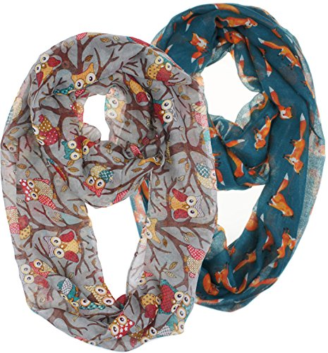 Fox Scarf - Vivian & Vincent 2 Pack of Soft Light Weight Elegant Sheer Infinity Scarf (Gift Idea) Gray Owl & Steel Blue Fox