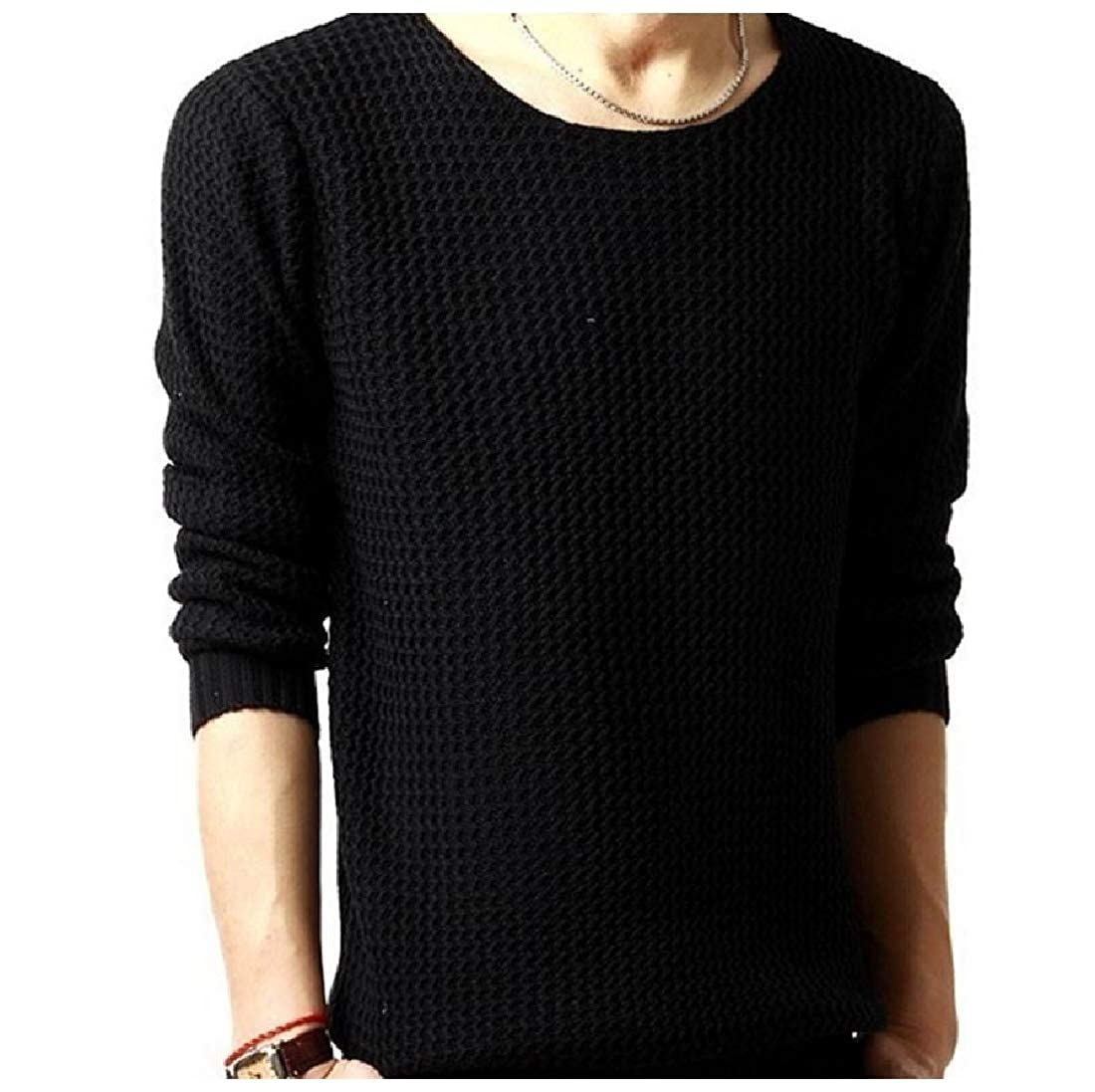 Highisa Mens Solid Jacquard Fashion Casual Pullover Sweater Tops