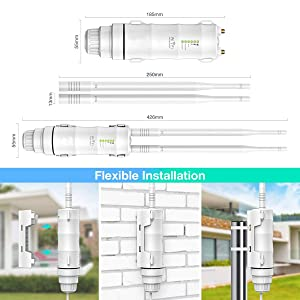 Upgrade Version N300 Outdoor Weatherproof Wi-Fi Access Point POE, WAVLINK High Power Long Range 2.4GHz 300Mbps Wireless AP/Router/WiFi Repeater Range Extender Internet Signal Booster Amplifier (Color: N300)