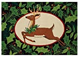 Peking Handicraft Woodland Deer Holiday Area Rug Pillow, Green/Brown
