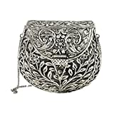 From St Xavier Silva Embossed Metal Minaudiere Bag, Silver
