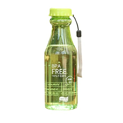 OUNONA 550ml Portable BPA Clear Clear impermeable botella de agua de plástico para yoga Running Outdoor Sports (Green)