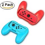 2 Pack Nintendo Switch Grip Kits [Résistant à l'usure] Joy-Con Grips Poignées Poignées Housse de protection (Bleu et Rouge) par YONTEX
