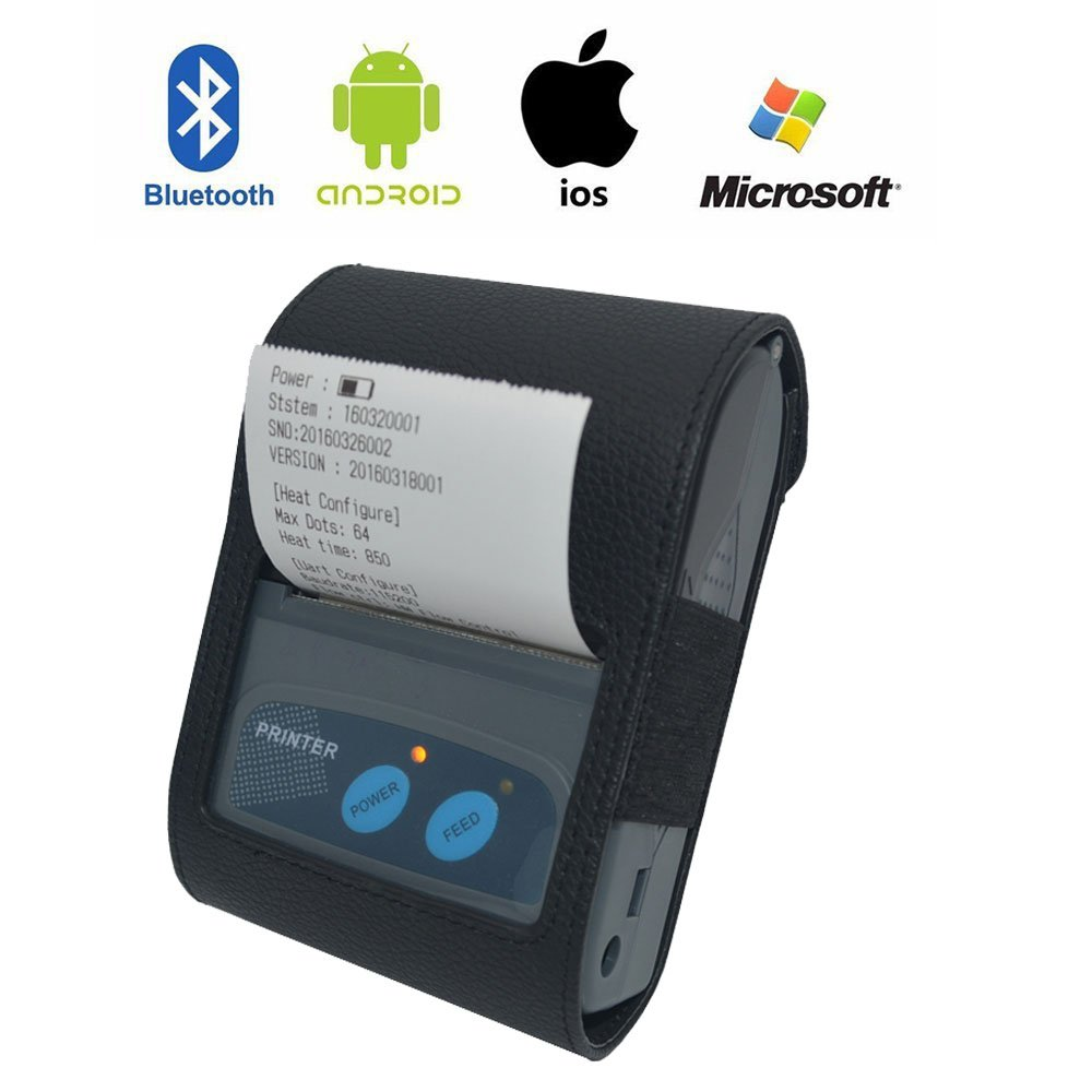 Portable Bluetooth Receipt Printer ,Mini Wireless 58MM Thermal Printer Receipt Ticket for iOS、Android and Windows Systems.With ESC / POS Print Commands Set