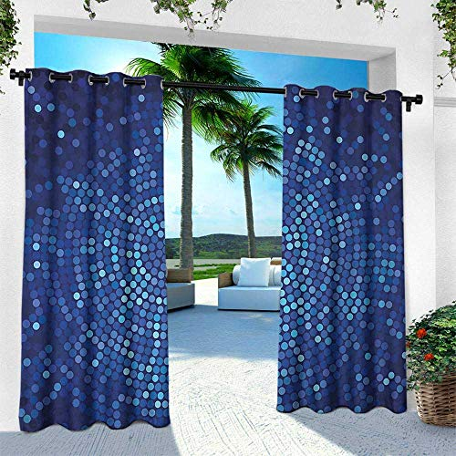 Hengshu Abstract, Outdoor Patio Curtains Waterproof with Grommets,Spiral Fractal Mosaic Backdrop with Dots Circle Rounds Disco Style Print, W84 x L84 Inch, Navy and Violet Blue