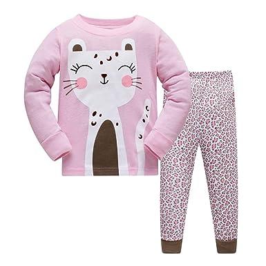 a496ebc9fbf4c7 HIKIDS Mädchen Schlafanzug Mädchen Rosa Katze Flamingo Langarm Zweiteiliger  Schlafanzug Kinder Herbst Winter Bekleidung Nachtwäsche Pyjama Set 98 ...