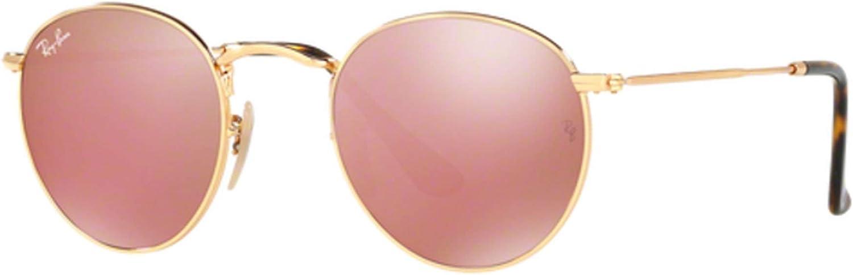 TALLA 50. Ray-Ban Gafas de sol de lente plana redonda en oro cobre Flash RB3447N 001/Z2 50