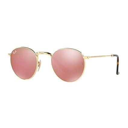 17f74b1691 Ray-Ban Gafas de sol de lente plana redonda en oro cobre Flash RB3447N:  Amazon.es: Ropa y accesorios