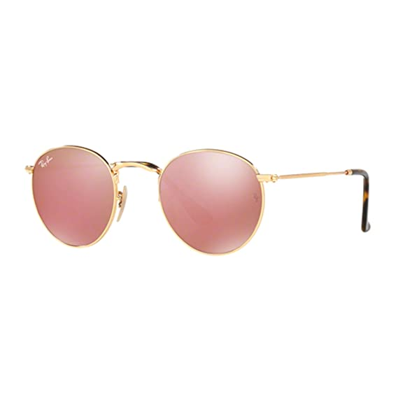 f3ec27e0ca Ray-Ban Round Flat Lens Sunglasses in Gold Copper Flash RB3447N 001 Z2 50 50  Copper Flash Mirror  Amazon.co.uk  Clothing