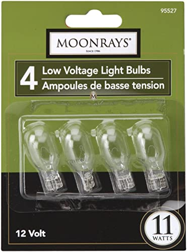 Clear 4 Pack Moonrays 95527 Wedge Base Light Bulbs 11-Watt