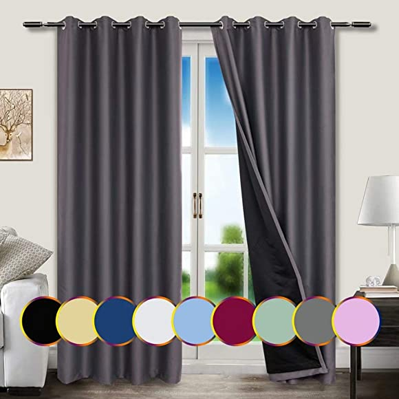 Mitlatem Extra Wide Full Blackout Curtains 84 Inch Long Grommet Thermal Light Blocking Bedroom Drapery Panel