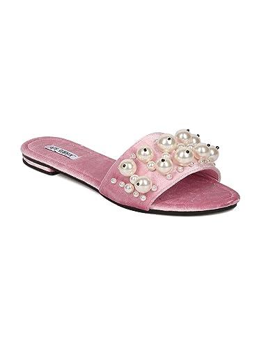 d77b1372f74 CAPE ROBBIN Women Velvet Open Toe Faux Pearl Slip On Sandal GH30 - Pink  (Size