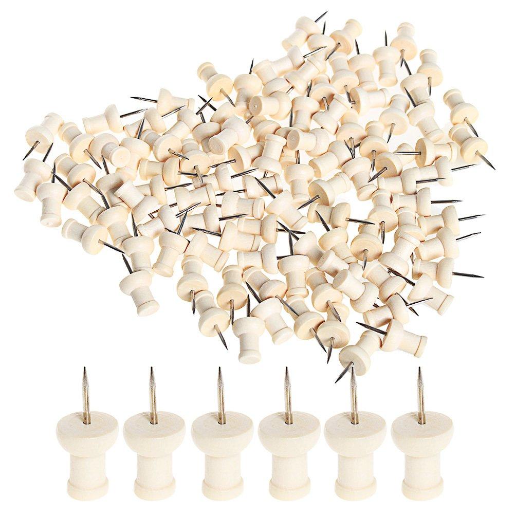 Sumaju legno Push pins, 100pezzi in legno pollice puntine per ufficio e progetti creativi legno testa con perni di punto Log Beige