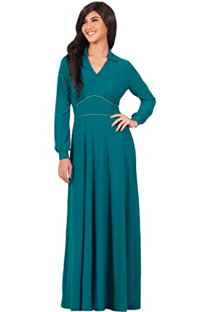 KOH KOH Womens Long Sleeve V-Neck Flowy Semi Formal Elegant Gown ...