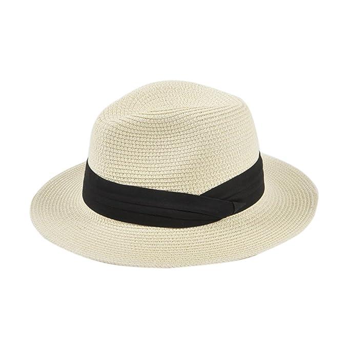 Paladoo Womens Floppy Summer Sun Hat Beach Cap Wide Brim Straw Hats 1-Beige 89867593f2