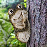 EnHoHa Outdoor Simulated Plant Decoration Tree Frog Solid Wood Carving Small Animal Garden Decoration Crafts Arrangement