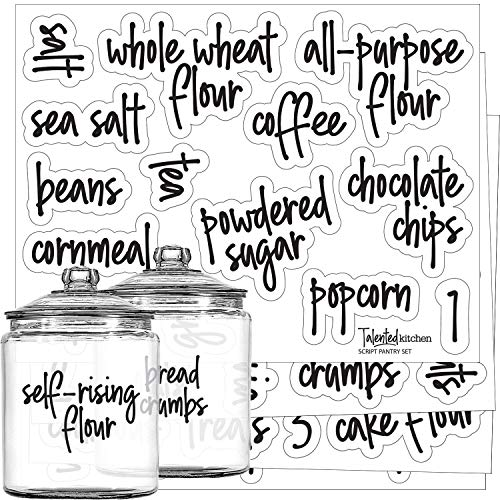 Pantry Labels – Preprinted Kitchen Labels Sticker Set by Talented Kitchen. Script Design, Clear, Gloss, Water Resistant, Food & Spice Jar Labels for Pantry Organization and Storage (Set of 57- Script)