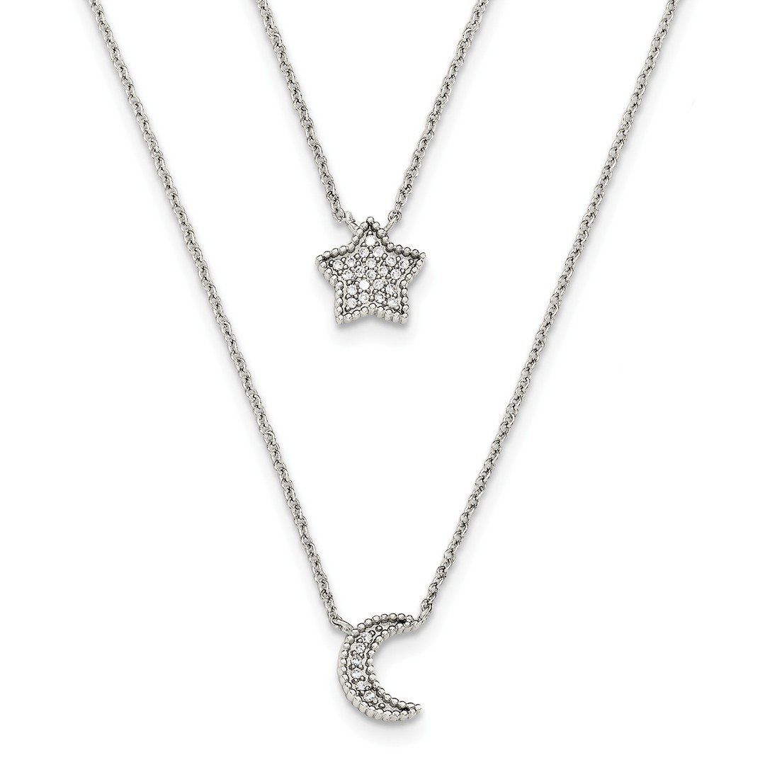 ICE CARATS 925 Sterling Silver Cubic Zirconia Cz Moon Star Double Strand Chain Necklace Pendant Charm Sun Fine Jewelry Ideal Gifts For Women Gift Set From Heart