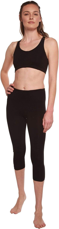 Spun Bamboo Women's Bamboo Viscose/Organic Cotton Capri Leggings - Yoga Workout Comfort Fit Ultra Soft Breathable Pant