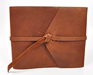 product image for Rustic Leather Guest Book - Hand-sewn with Tie Wrap & Rough Cut, Lined Pages - Saddle Brown
