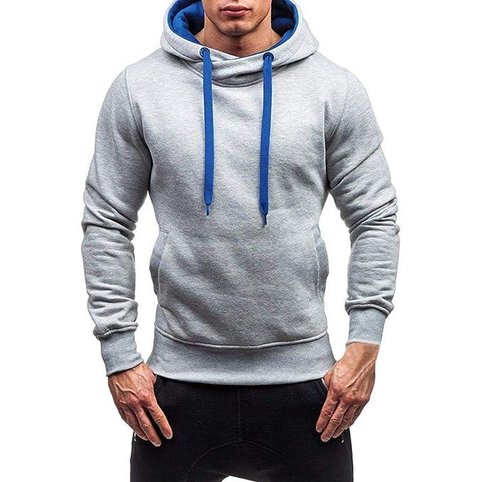 Resplend Sudadera con Capucha sólida de otoño Invierno para Hombre Outwear Tops Blusa