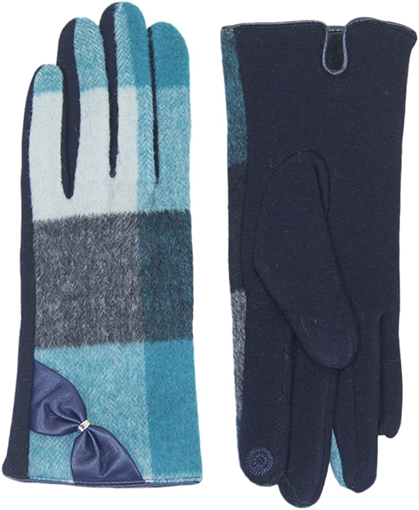 Me Plus Women Winter Gloves Touch Screen Thick Warm Plaid Pattern Gloves With Bow