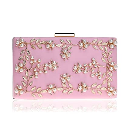 a2141acfe9 Clutch Purse Women Clutches Pearls Evening Bag Clutch Frosted Handbag Party  (Color : Pink, Size : Free Size): Amazon.ca: Home & Kitchen