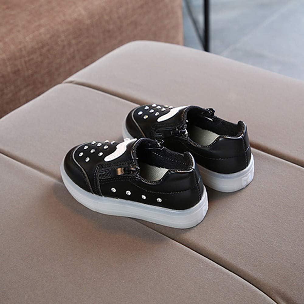 Anxinke Toddlers Casual Walking Shoes Slip-on Zipper LED Light Sneakers