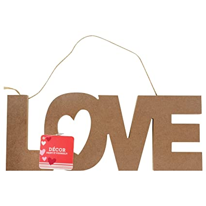 Mother\u0027s Day Wooden LOVE Inspirational Signs Paint it Yours DIY Crafting  Plaque with Burlap String , Decoupage Art Decoration Restaurant Classroom