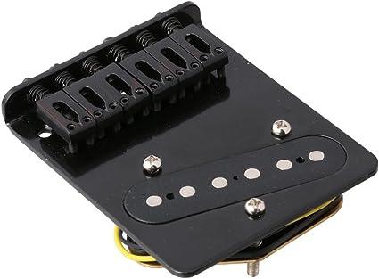 lyws 6 Saddle Pastilla de puente para Fender Telecaster Tele Guitarra eléctrica, negro: Amazon.es: Instrumentos musicales
