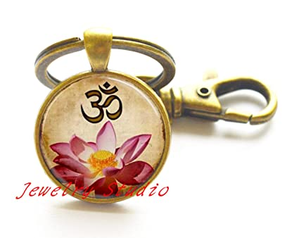 Encantador moda llavero Yoga joyería Om llavero rosa flores ...
