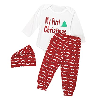 4caaef4ff GBSELL 3PCS Newborn Baby Boy Girl My First Christmas Romper + Pants + Hat Clothes  Set