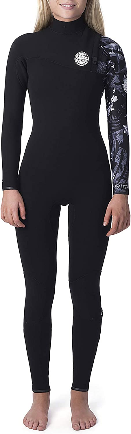 Rip Curl Womens G Bomb 4/3mm Zipperless Wetsuit Black White - Easy Stretch