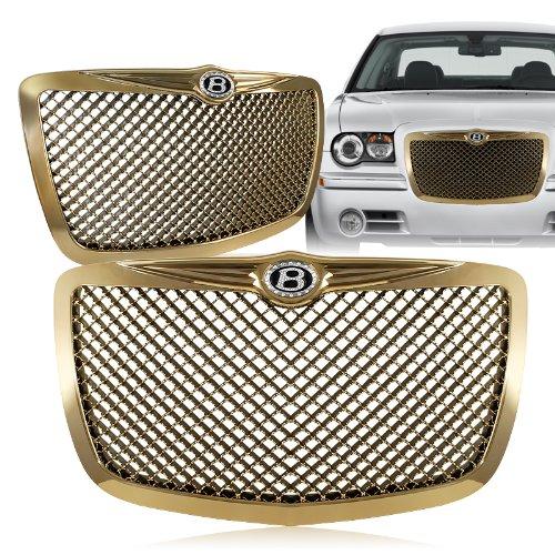 2005 - 2010 Chrysler 300/300C Gold Front Mesh Hood Bumper Grille w/ Iced Out B Emblem