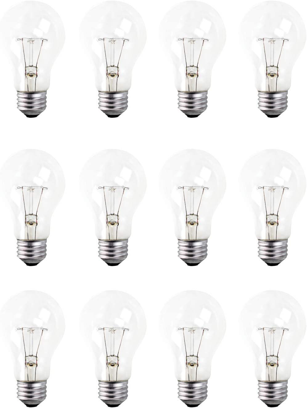 A19 Clear Incandescent Rough Service Light Bulb, 40 Watt, 2700K Soft White, E26 Medium Base, 300 Lumens, 130V (12 Pack)