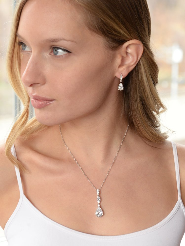Mariell Platinum Plated Pear-Shaped CZ Bridal, Bridesmaids or Prom Necklace and Earring Set by Mariell (Image #2)