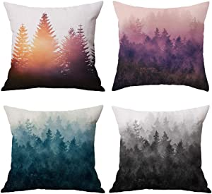 NYDECOR Forest Tree Throw Pillow Covers Nature Pillow Case Cotton Linen Rustic Cushion Cover for Sofa Couch 18x18 Set of 4