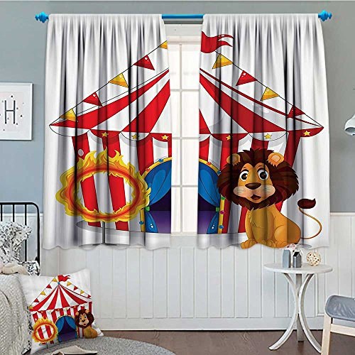 lacencn Circus Decor Patterned Drape For Glass Door Lion And A Fire Ring in Front Of The Circus Tent Lightbulbs Flame Adventure Waterproof Window Curtain 52