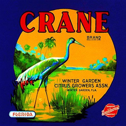 A SLICE IN TIME Winter Garden, Florida Crane Bird Orange Citrus Fruit Crate Box Label Art Print