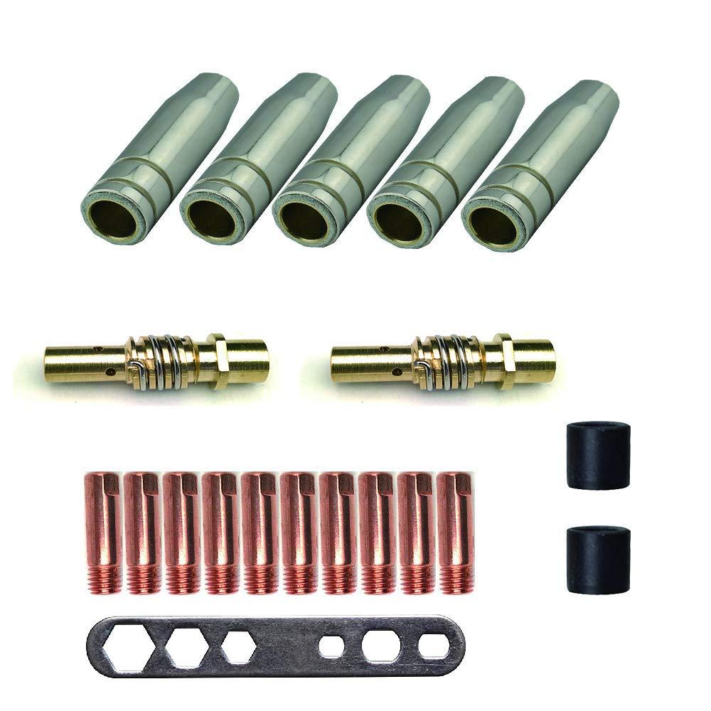 MIG / MAG Accesorios de soldadura para MB15AK | 5 x boquilla de gas | 2 x Boquilla | 10 x Boquilla de corriente M6 0.8mm | 2 x aislador | 1 x instrumento ...