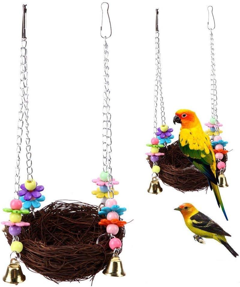 Rabi naturale Nest Bird Swing gabbia per pappagallo cacatua Macaw  africano grigio parrocchetto Budgie Cockatiel Conure Lovebird naturale gabbia