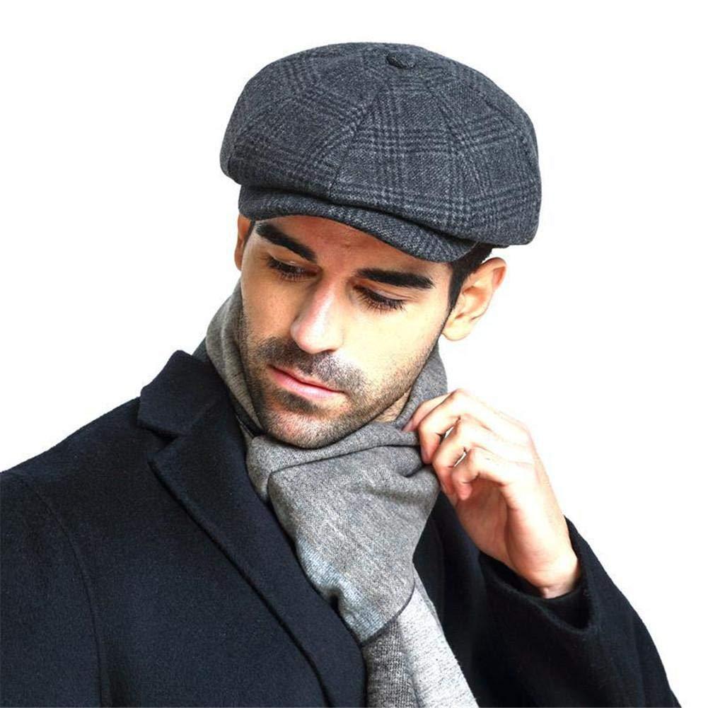 XL//negro Sombrero para hombre Baker Boy Newsboy Herringbone Gatsby Gorra plana Tommy Shelby Peaky Blinders